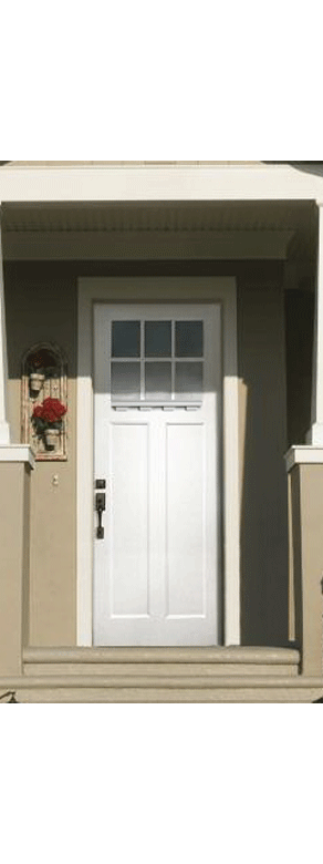 Craftsman White Smooth Front Door with Dentil Shelf